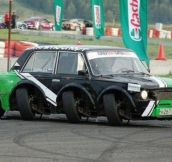 Lada with eight wheels