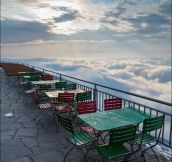 Restaurant above the clouds on Mount Santis Switzerland