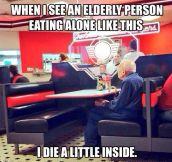 Elderly People Eating Alone