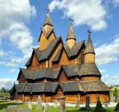 800 year old stave church made entirely from wood without a single nail located in Borgund, Nord-Trondelag, Norway