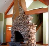 Beautiful River Rock Fireplace
