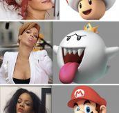 Rihanna Cosplaying Mario Party
