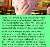 Little Boy Is Horrified When He Sees A Man Hitting Another Woman At McDonalds. But Then His Dad Stood Up & Did This.