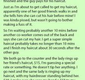 This Hairdresser Ignored Him & Let Her Friend Cut In Line Even Though He Was Waiting. But His Response Is Hilarious.
