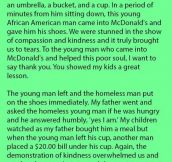 A Poor Man Walked In To Mcdonald's With No Shoes. But Never Thought Another Customer Would Do This.