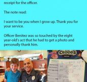 Young Boy Secretly Slips Note To Cop. He Reads Message And Quickly Jumps Up From His Seat.