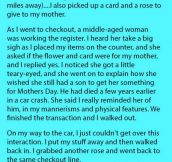 On Mother's Day, An Old Female Cashier Told Him How She Lost Her Son In A Car Crash. But She Is Stunned When He Does This.