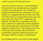 She Was Shopping For A Dress For Her Dad's Funeral. But Never Expected The Cashier To Say This To Her.