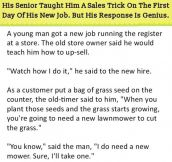 His Senior Taught Him A Sales Trick On The First Day Of His New Job. But His Response Is Genius.