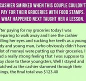 Cashier Smirked When Couple Couldn't Pay For Groceries With Food Stamps. What Happened Next Taught Her A Lesson.