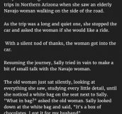 Woman Gives Lift To A Navajo Woman. But Is Stunned When She Says This About Her Husband.