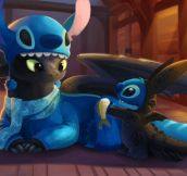 Toothless And Stitch Dressed As Each Other
