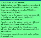 A Captain Was Addressing Passengers On A Plane. Nobody Expected To Hear This.
