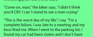 A Guy Was Having The Worst Day Of His Life Even A Biker Started To Bully Him. This Is Gold.