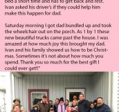 Trucker Dying From Cancer Greeted By Surprise Christmas Convoy.