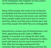 Owner Has Best Reply For Customer Complaining About Special Needs Employee.
