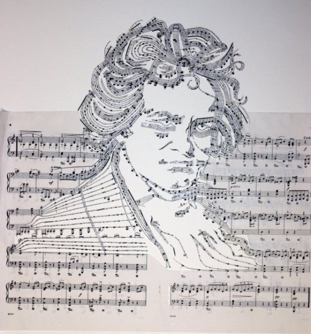 Beethoven 630x676 Erika Simmons Creates Amazing Celebrity Portraits with Cassette Tapes (34 Pics)