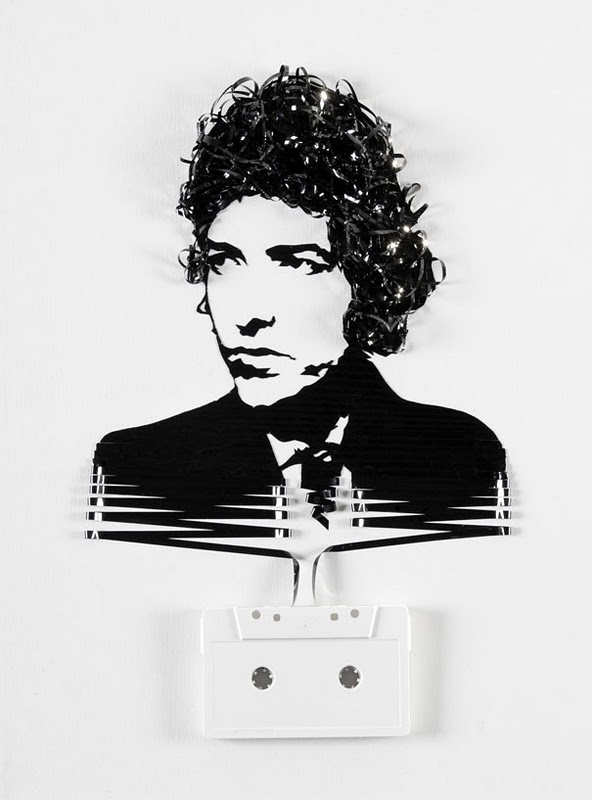 Bob Dylan Erika Simmons Creates Amazing Celebrity Portraits with Cassette Tapes (34 Pics)