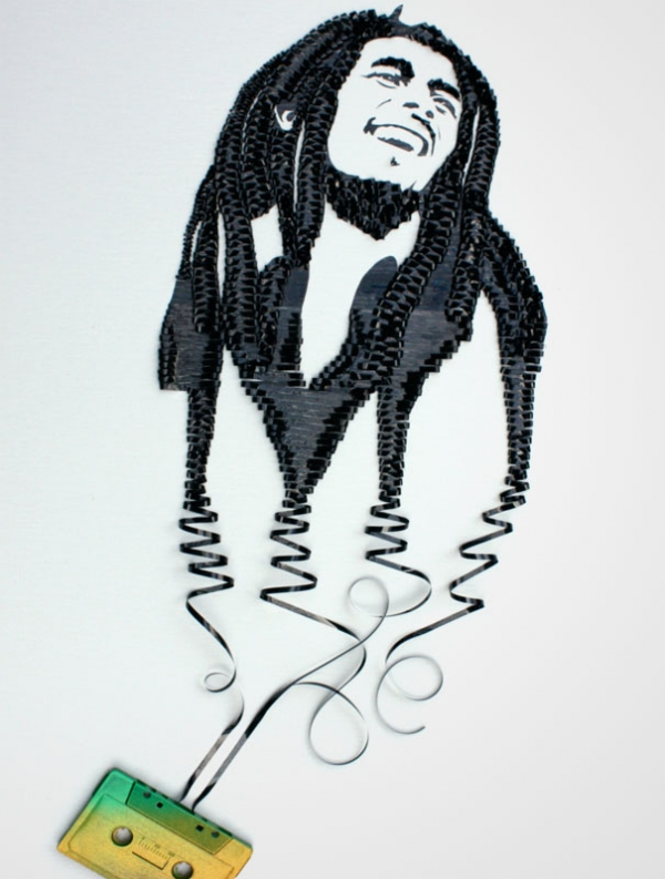 Bob Marley Erika Simmons Creates Amazing Celebrity Portraits with Cassette Tapes (34 Pics)