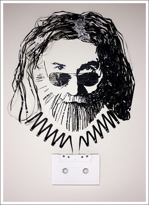 Jerry Garcia Erika Simmons Creates Amazing Celebrity Portraits with Cassette Tapes (34 Pics)