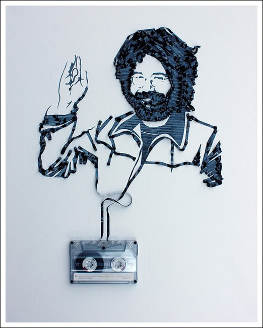 Jerry Garcia1 Erika Simmons Creates Amazing Celebrity Portraits with Cassette Tapes (34 Pics)