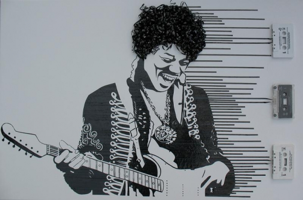 Jimi Hendrix1 Erika Simmons Creates Amazing Celebrity Portraits with Cassette Tapes (34 Pics)