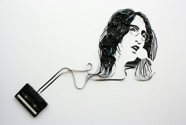 John Lennon Erika Simmons Creates Amazing Celebrity Portraits with Cassette Tapes (34 Pics)