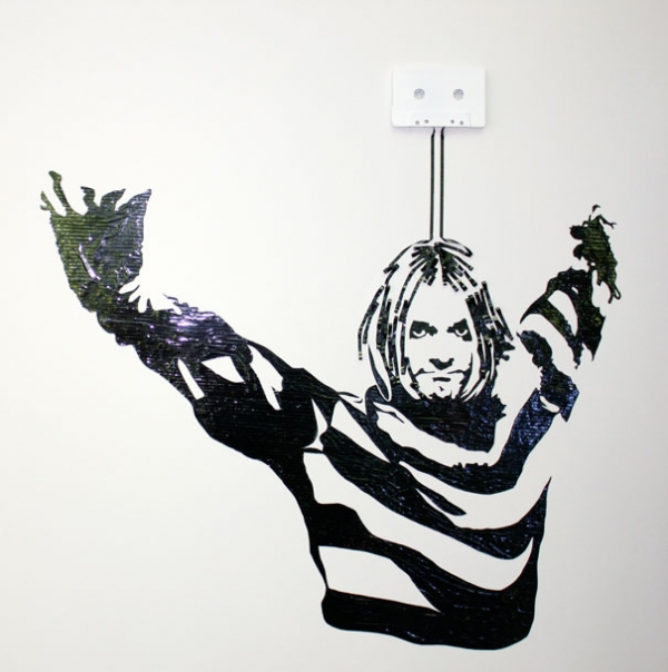 Kurt Cobain Erika Simmons Creates Amazing Celebrity Portraits with Cassette Tapes (34 Pics)