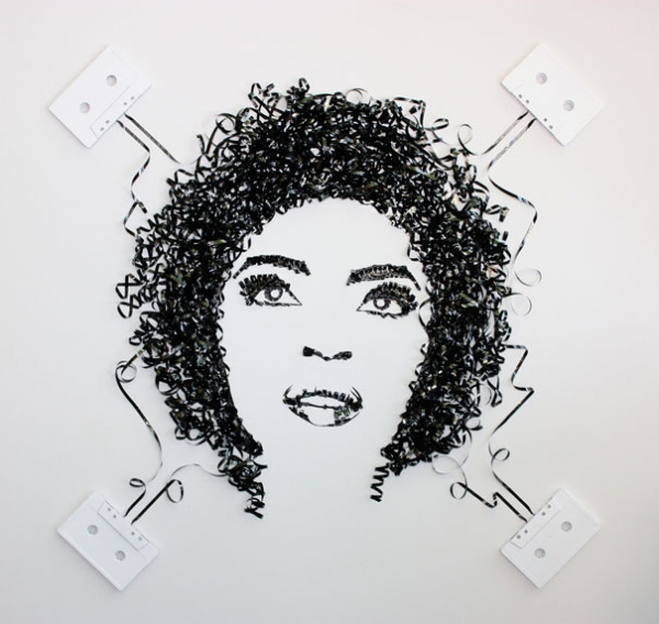 Lauryn Hill Erika Simmons Creates Amazing Celebrity Portraits with Cassette Tapes (34 Pics)