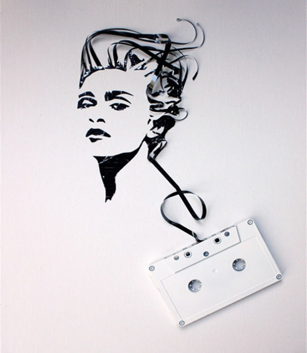 Madonna Erika Simmons Creates Amazing Celebrity Portraits with Cassette Tapes (34 Pics)
