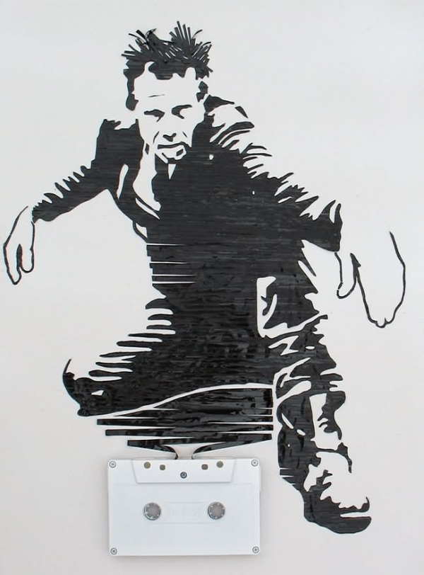 Tom Waits Erika Simmons Creates Amazing Celebrity Portraits with Cassette Tapes (34 Pics)