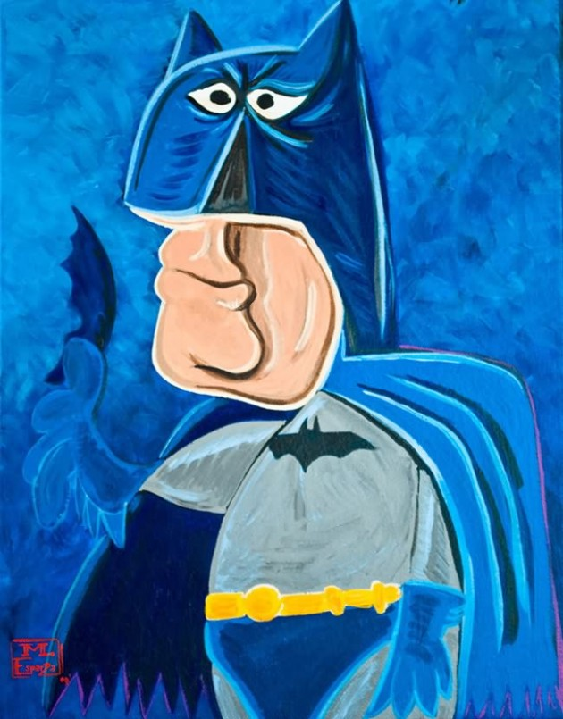 Bat Man Painting 630x805 What If Picasso Painted Superheroes?