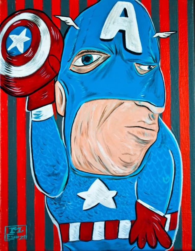 Captain America Painting 630x809 What If Picasso Painted Superheroes?