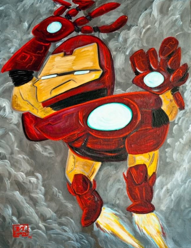 Iron Man Painting 630x818 What If Picasso Painted Superheroes?