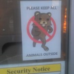 On the door of a Russian food store in NYC