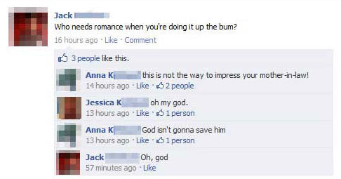 Up the bum 15 Extremely Funny Facebook Status Messages