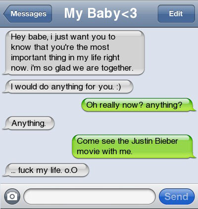 justin bieber movie 21 Ultra Hilarious & Awkward Text Conversations Made on iPhone