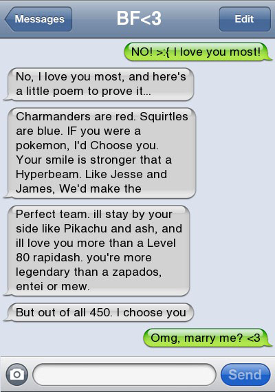 pokemon love 21 Ultra Hilarious & Awkward Text Conversations Made on iPhone