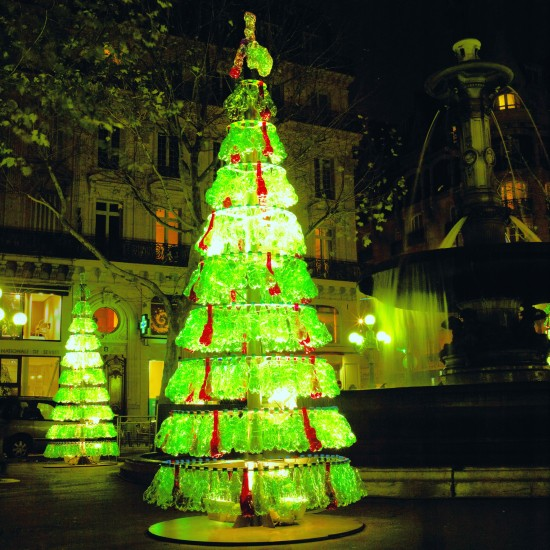 Christmas trees made out of spare bottles