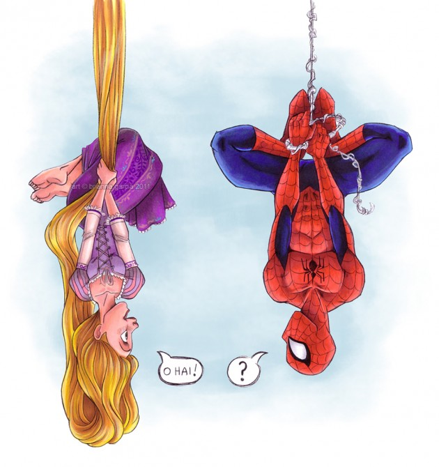 Rapunzel beats spidey 630x670 Silly Superheroes: 15 Hilarious Pictures of Superheroes being awesomely silly