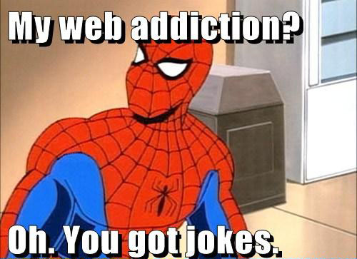 Spidermans addiction Silly Superheroes: 15 Hilarious Pictures of Superheroes being awesomely silly
