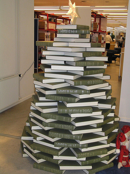 Tree made of books 20 Ideas that Help Get Creative with Your Christmas Tree