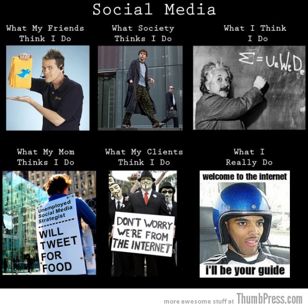 Social Media 630x632 The Best of What People Think I Do / What I Really Do Meme (25 Pics)