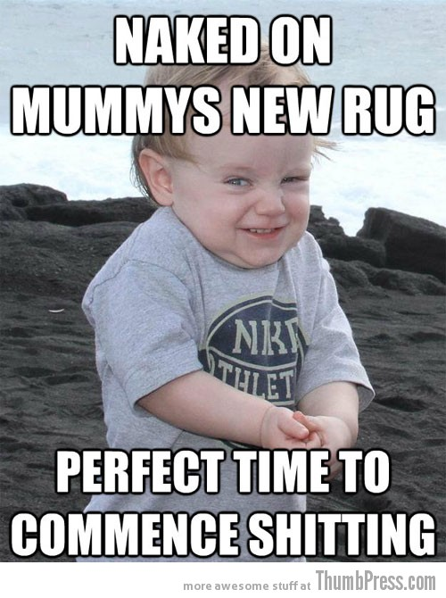 New rug Evil Plotting Baby Reminds You of Why Babies are Hard to Deal With