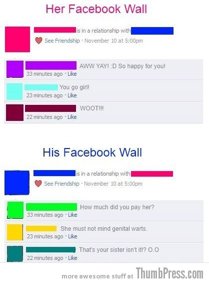 Relationship Announcement His vs Hers Facebook Makes it Easy to Mess Up Your Relationships (21 Funny Pics)
