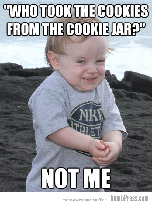 Who took the cookies Evil Plotting Baby Reminds You of Why Babies are Hard to Deal With