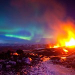4. Erupting Volcano with Aurora, Iceland