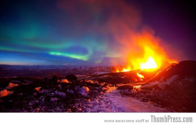 4. Erupting Volcano with Aurora, Iceland
