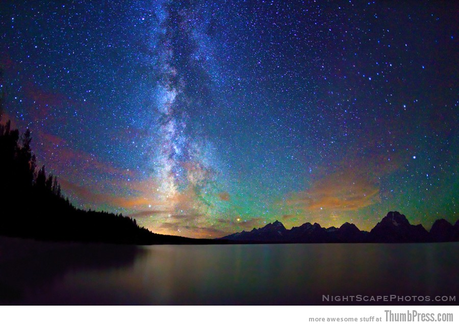 Stars, Milky Way, Jackson Lake, Grand Teton NP