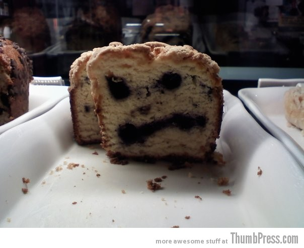 Angry Coffee Cake Theyre watching you!!   Finding Weird Faces in Inanimate Objects